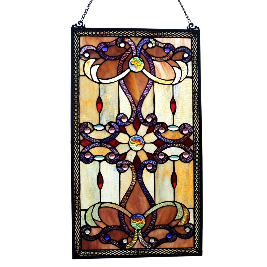 Brandi Collection Stained Glass Panel: 26 Inch Decorative Window Hanging - Tiffany Style Framed Hangings for the Wall or Windows - Large Vertical Decoration in Brown, Amber and Yellow by River of Goods