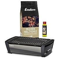 Aurora Enders Tischgrill klein schwarz Balkon Camping Picknick ✔ eckig ✔ tragbar rauchfrei ✔ Grillen mit Holzkohle ✔ für den Tisch