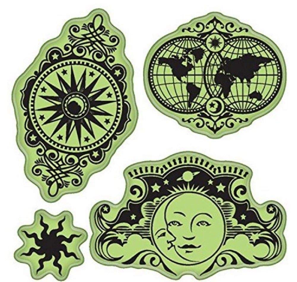 ShopForAllYou Stamping /& Embossing Celestial Moeifs Moon Sun Star Globe Earth Set Cling Rubber Stamp