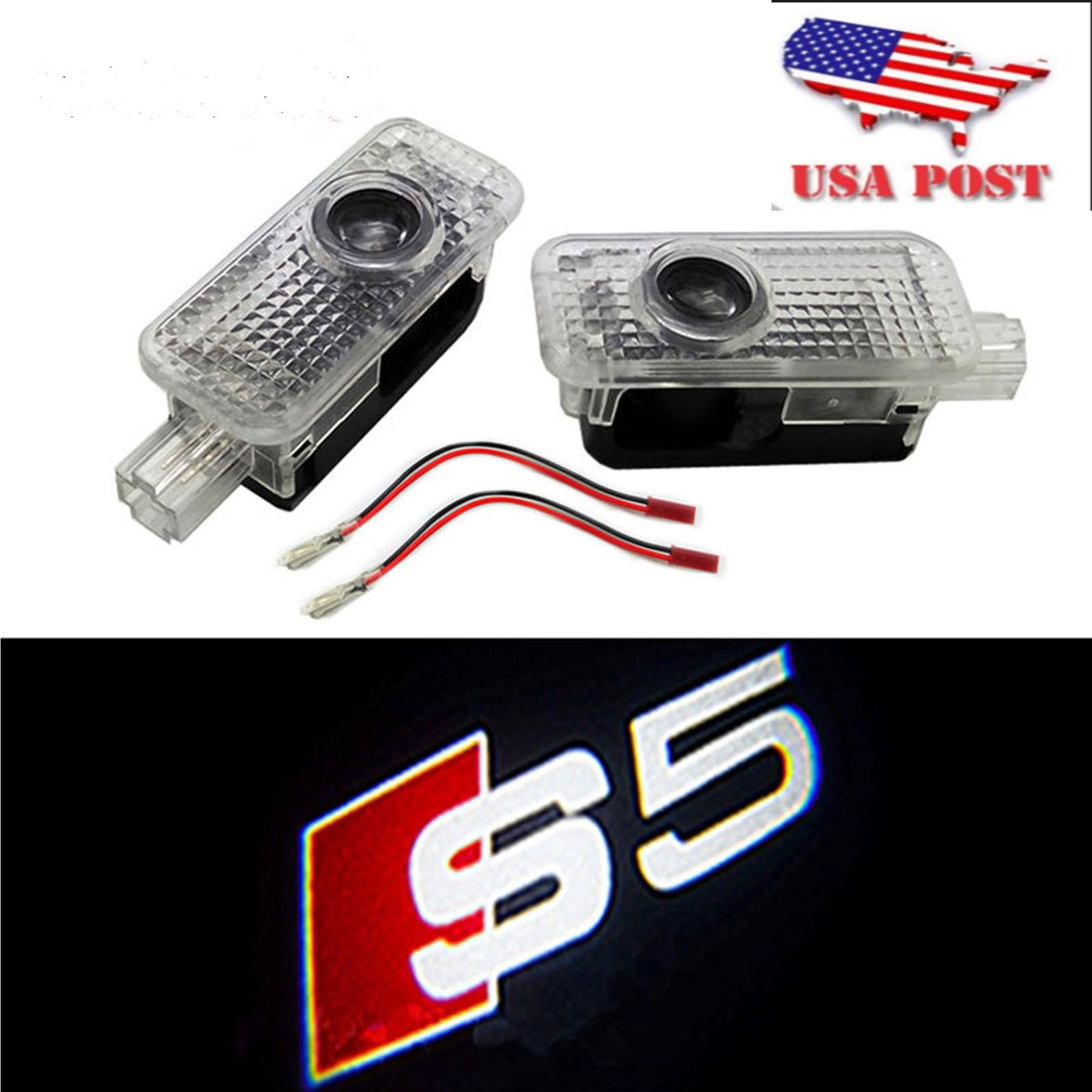 CNAutoLicht 2X Cree LED S5 Logo Door Step Courtesy Light Welcome Light Laser Shadow Logo Projector Lamp For Audi A1 A2 A3 A4 A5 A6 A7 A8 Q2 Q3 Q6 Q5 Q7 R8 TT RS4 RS5 RS6 RS7 S3 S4 S5 S6 S7 S8