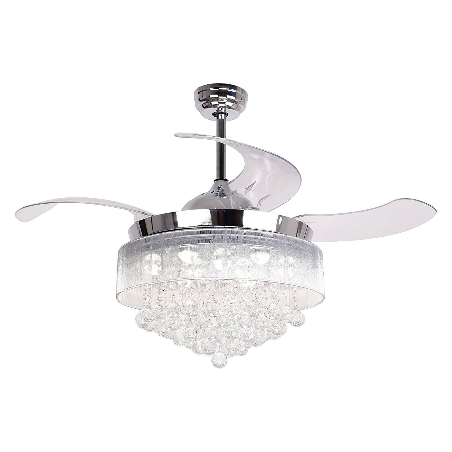 Parrot Uncle Ceiling Fan with Lights 46 Inch LED Ceiling Fans Retractable  Blades Modern Crystal Chandelier Fan Chrome Finished with Remote Control,  ...