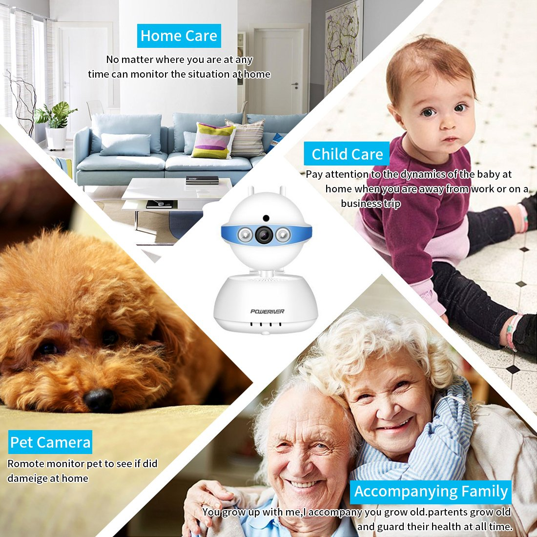 Security Camera,POWERIVER WiFi Ip Indoor Security System with Motion Detection, Two-Way Audio & Night Vision for Baby/Pet/Front Porch Monitor, Remote Control with iOS, Android, PC App(Blue)