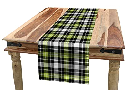 Ambesonne Abstract Table Runner Square Shaped Horizontal And Vertical Lines Geometric Style Art Print