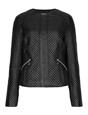 be49cbf015d Marks and Spencer Petite RRP £58 Black Faux Leather Quilted Biker Jacket  Womens M S (