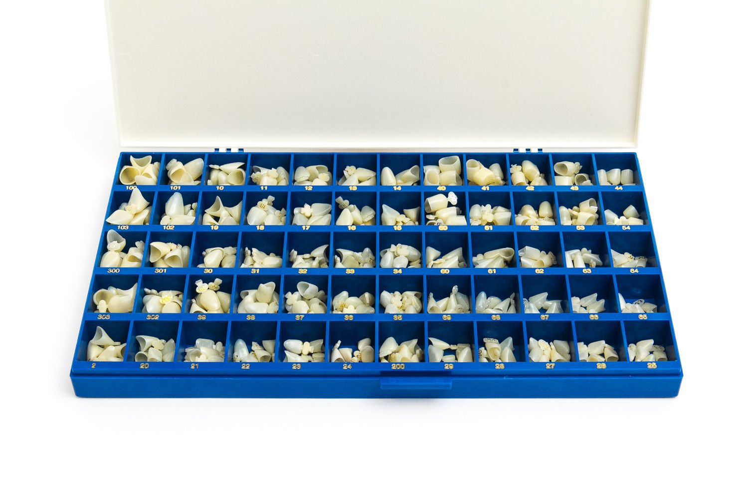 Polycarbonate Temporary Dental Crowns Box 360 pcs with Paper Guide Chart