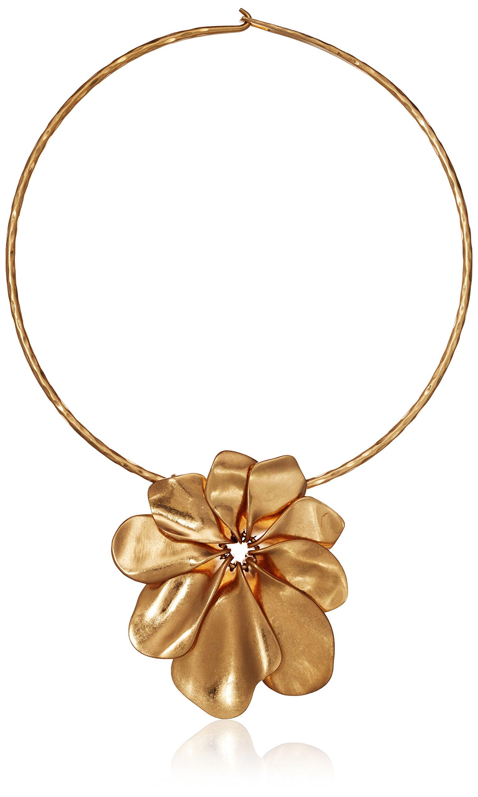 Robert Lee Morris Women's Sculptural Flower Wire Collar Gold Necklace Pendant Enhancer, One Size