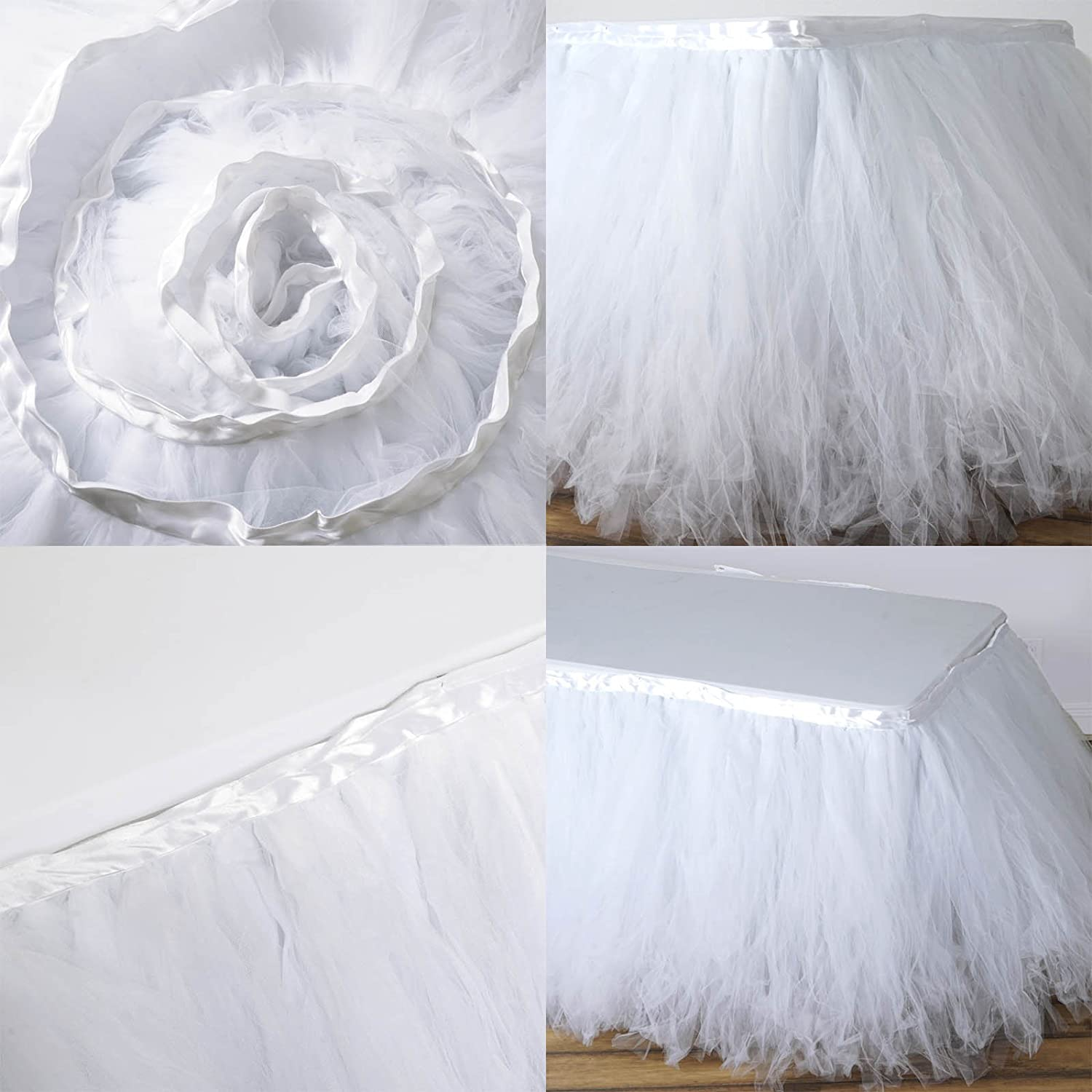 Efavormart 21ft FULL SIZE 8 Layer Fluffy Tulle Tutu Table Skirt for Dining Catering Wedding Birthday Party Events Serenity Blue