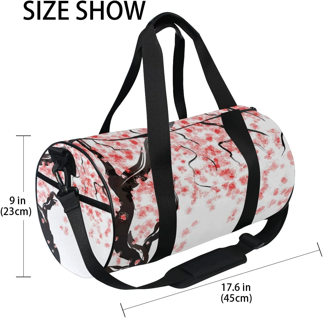 ALAZA Beautiful Japanese Cherry Blossom Sports Gym Duffel Bag Travel Luggage Handbag Shoulder Bag with Shoes Compartment for Men Women
