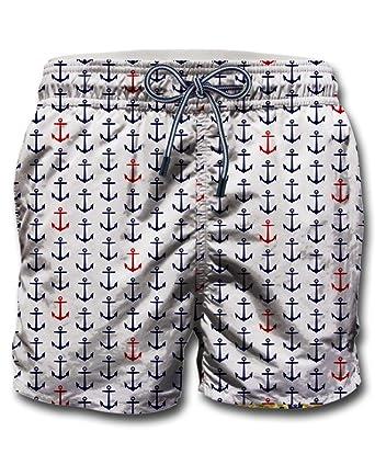 75a3f47a86 MC2 SAINT BARTH Men's Swimming Shorts white Bianco Medium: Amazon.co ...