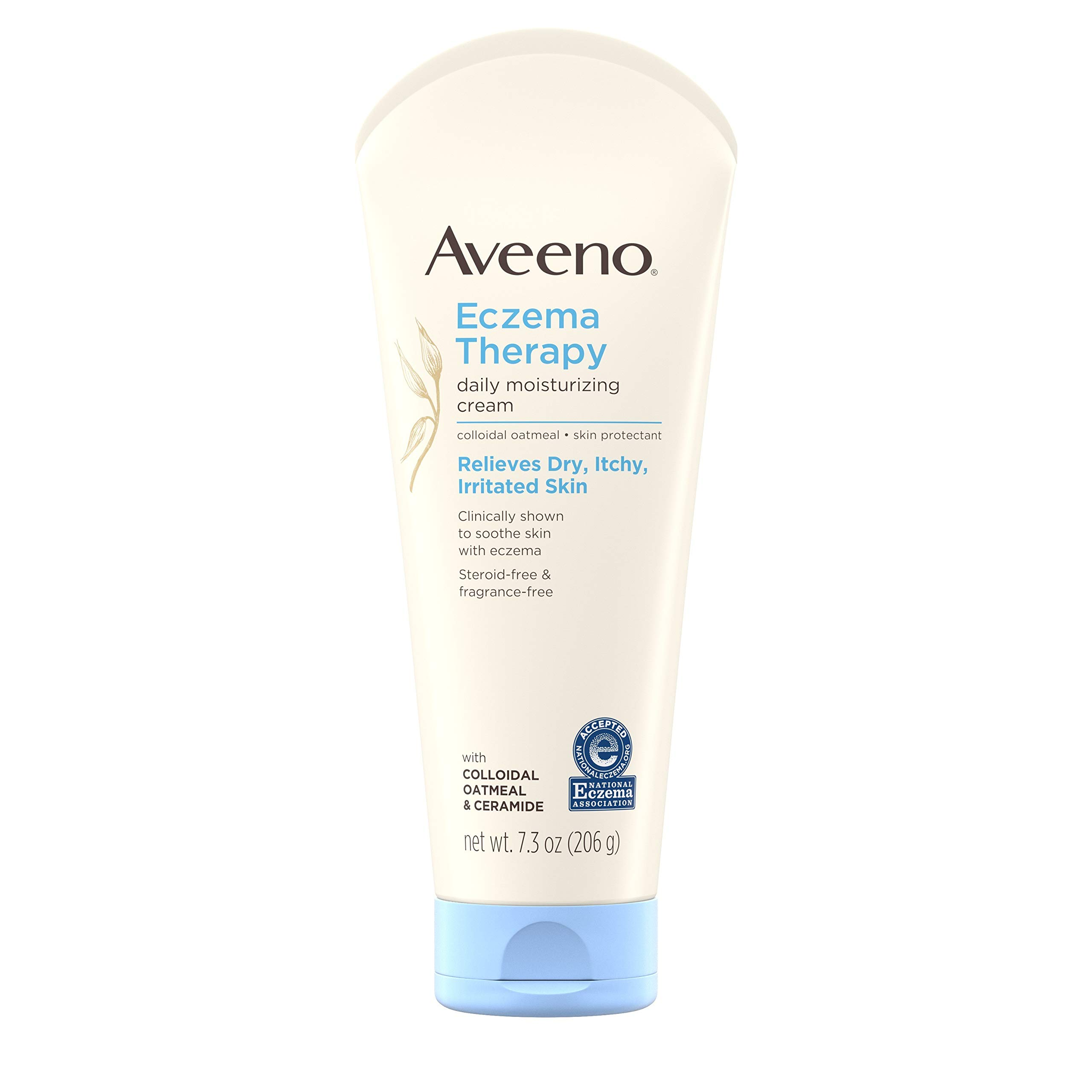 Aveeno Eczema Therapy Daily Moisturizing Cream for Sensitive Skin, Soothing Lotion with Colloidal Oatmeal for Dry, Itchy, and Irritated Skin, Steroid-Free and Fragrance-Free, 7.3 oz