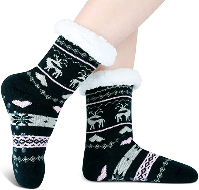 EOWO Womens Socks Winter Thick Cute Warm Colorful Socks Lightly Cushioned Ankle Socks Comfort Breathable Casual Socks