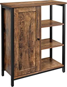 VASAGLE DAINTREE Floor Standing Cabinet, Industrial Storage Cabinet, Cupboard and 4 Shelves, Multifunctional Shelving for Living Room, Kitchen, Bedroom, Bathroom, Rustic Brown ULSC64BX
