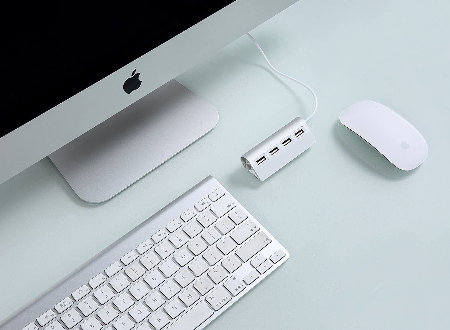 MacBooks PCs and Laptops Premium 4 Port Aluminum USB Hub with 11 inch Shielded Cable for iMac