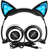 Barsone Cat Ear Headphones, Wired Cat Ear Earphones with Glowing Lights Cosplay Fancy Foldable Over Ear Headsets with Led Light Up / 3.5mm Earphone for Kids,Children,Girls ,Boys (Black)