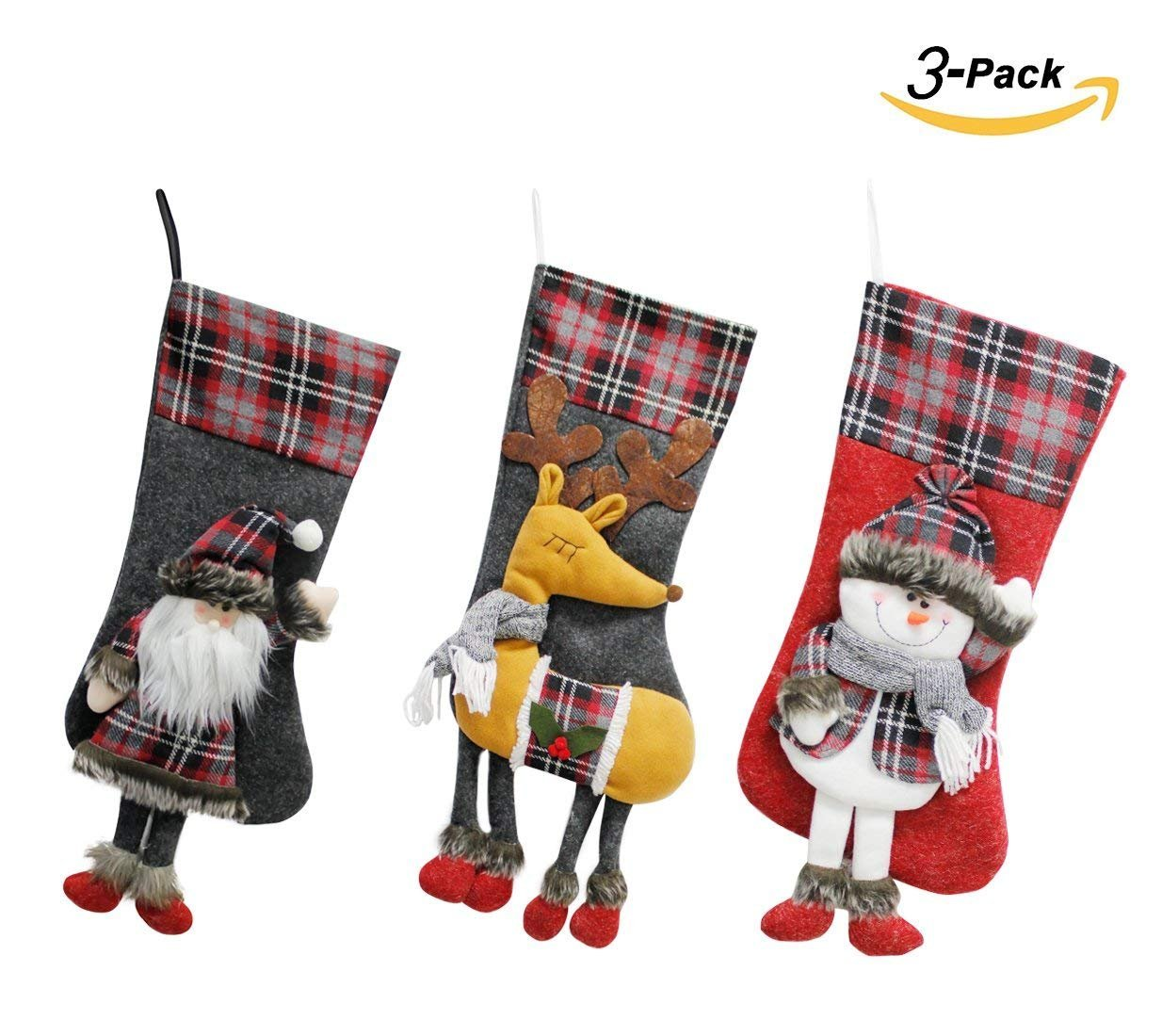 Scheppend 3D Design Christmas Hanging Stockings Set Holiday Decoration for Xmas Fireplace Ornament (Santa, Snowman and Reindeer)