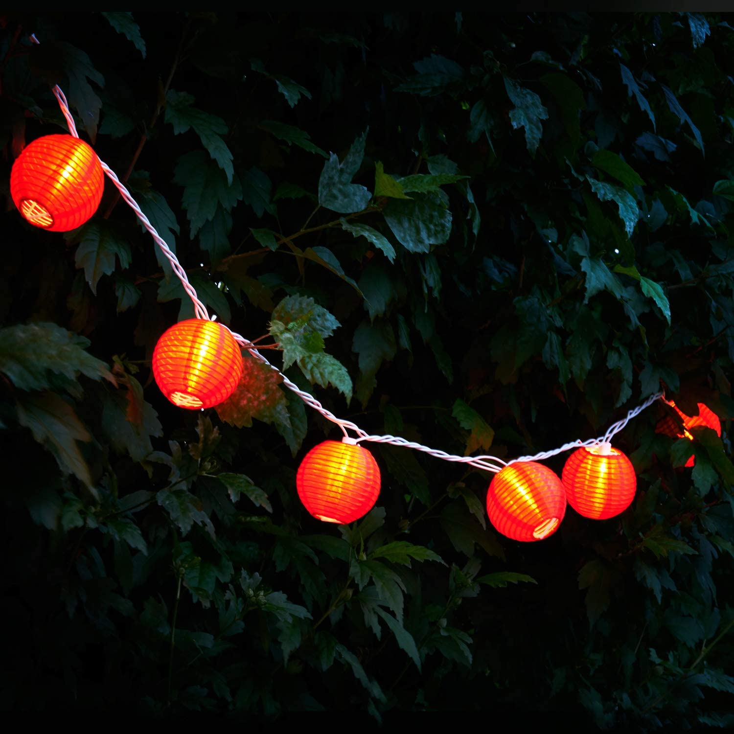 Red Lantern String Lights - 10 Nylon Hanging Mini Lanterns with Warm White Bulbs, 7 Feet Long, Waterproof for Indoor / Outdoor Lighting, Plug in, Connect up to 25 Strands