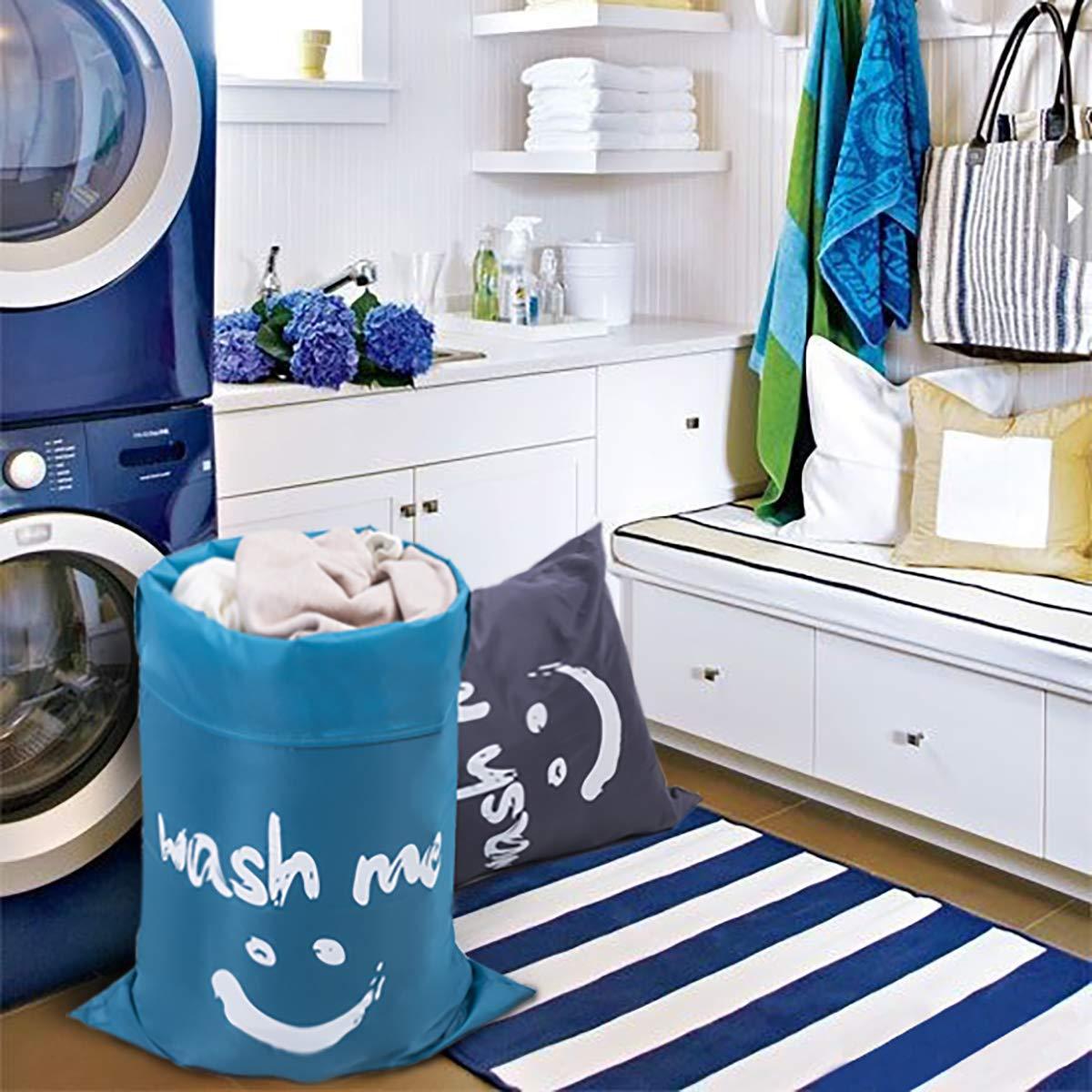 ZERO JET LAG 2 Pack Extra Large Travel Laundry Bag Set Nylon Rip-Stop Dirty Storage Bag Machine Washable Drawstring Closure 24'' x 36'' (Blue and Gray) by ZERO JET LAG (Image #8)