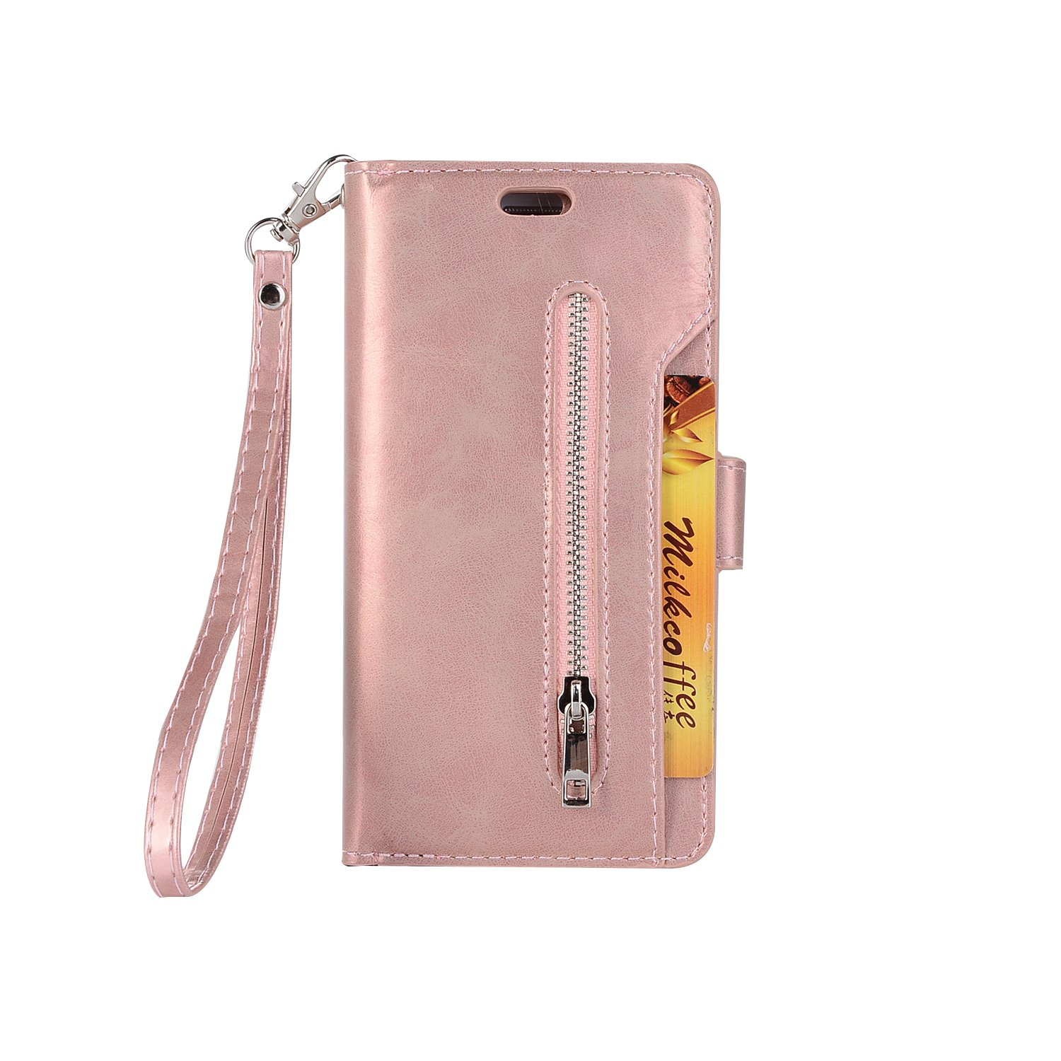 Sammid Galaxy S8 Wallet Case, Hand Strap PU Leather Protective Case Cover with Card Slots and Stand Function for Galaxy S8 - Rose Gold