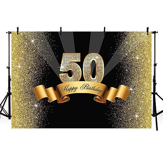 MEHOFOTO - Fondo para estudio de fotos con lentejuelas doradas brillantes, 50 cumpleaños, diseño de fiesta