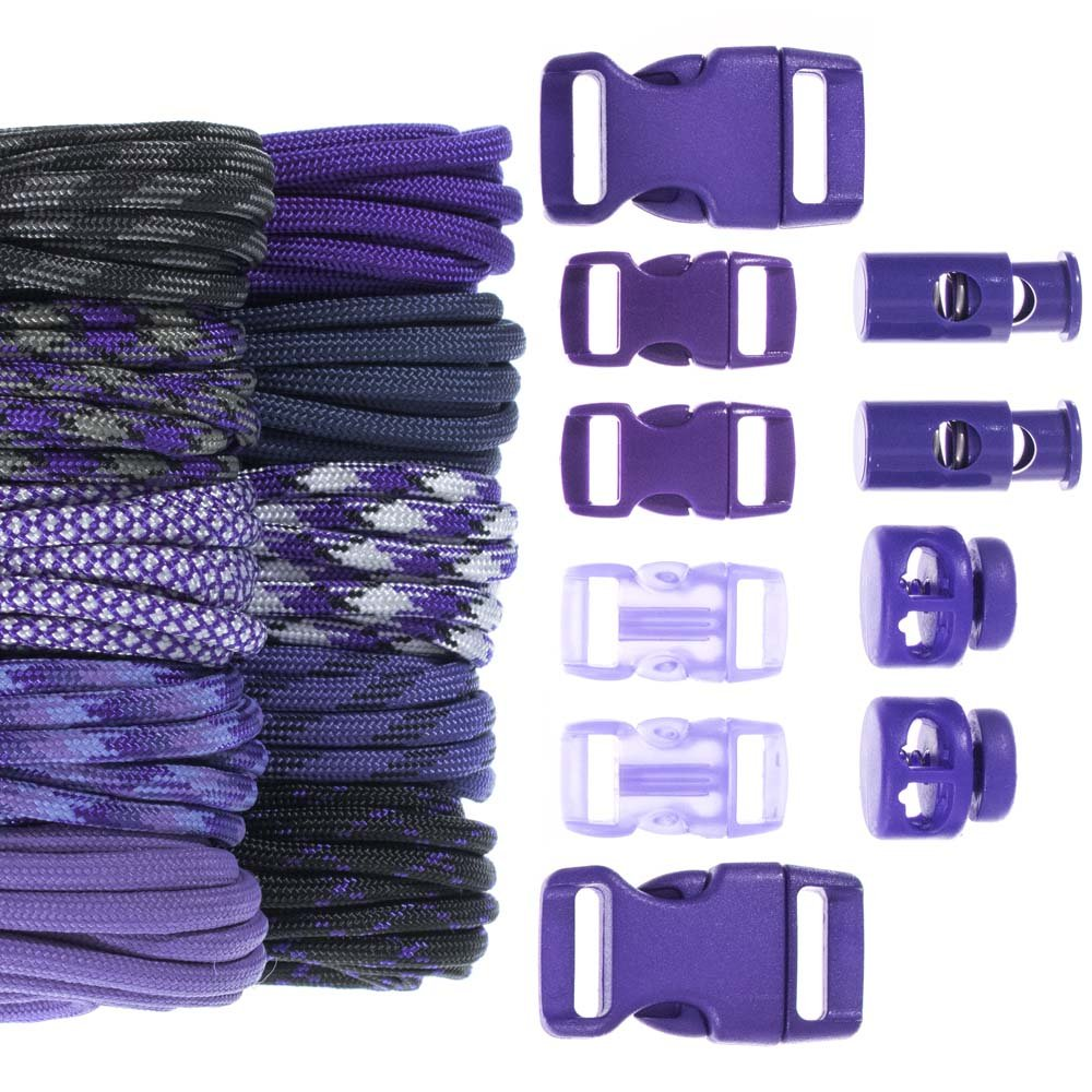 Craft County 100 Foot 550 Paracord Crafting Kits - for All Ages and Skill Levels - Create Paracord Bracelet, Lanyard, Keychain Projects (Amethyst)