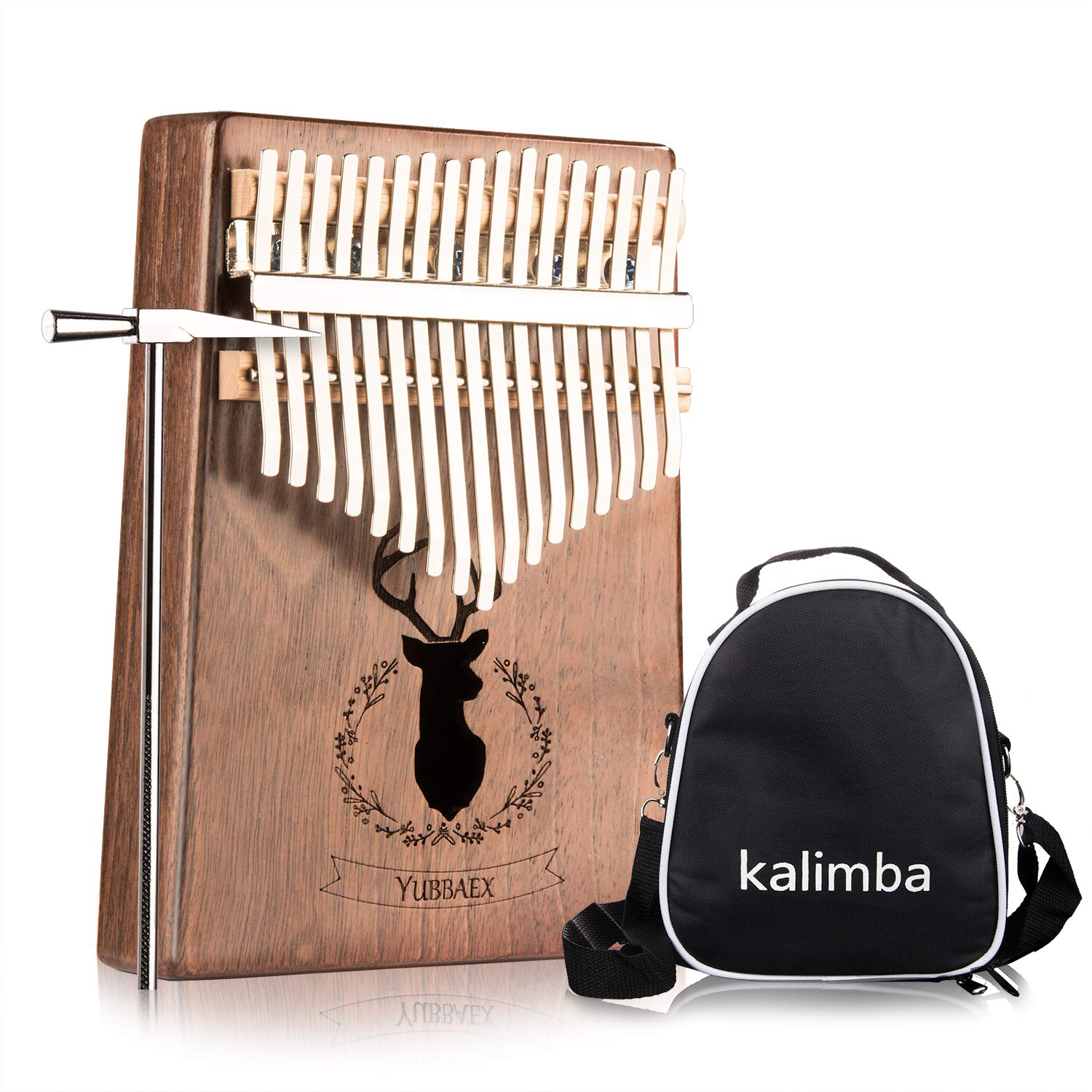 YBx Thumb Piano 17 Keys Kalimba African Animal Finger Music Instrument Gift with EVA High-performance Box (Koa Elk)