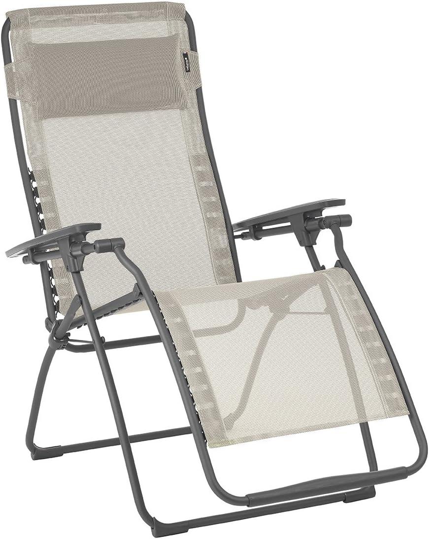 Lafuma Futura Zero Gravity Patio Recliner (Seigle Grey Batyline Canvas) Outdoor Folding Lounge Chair