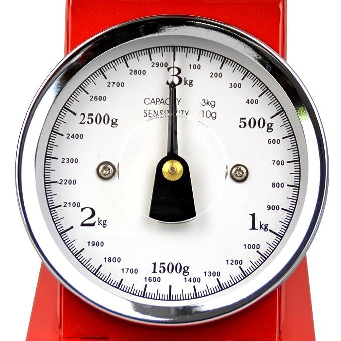 Nostalgie Küchenwaage 3000g/10g rot Metall Haushaltswaage ...