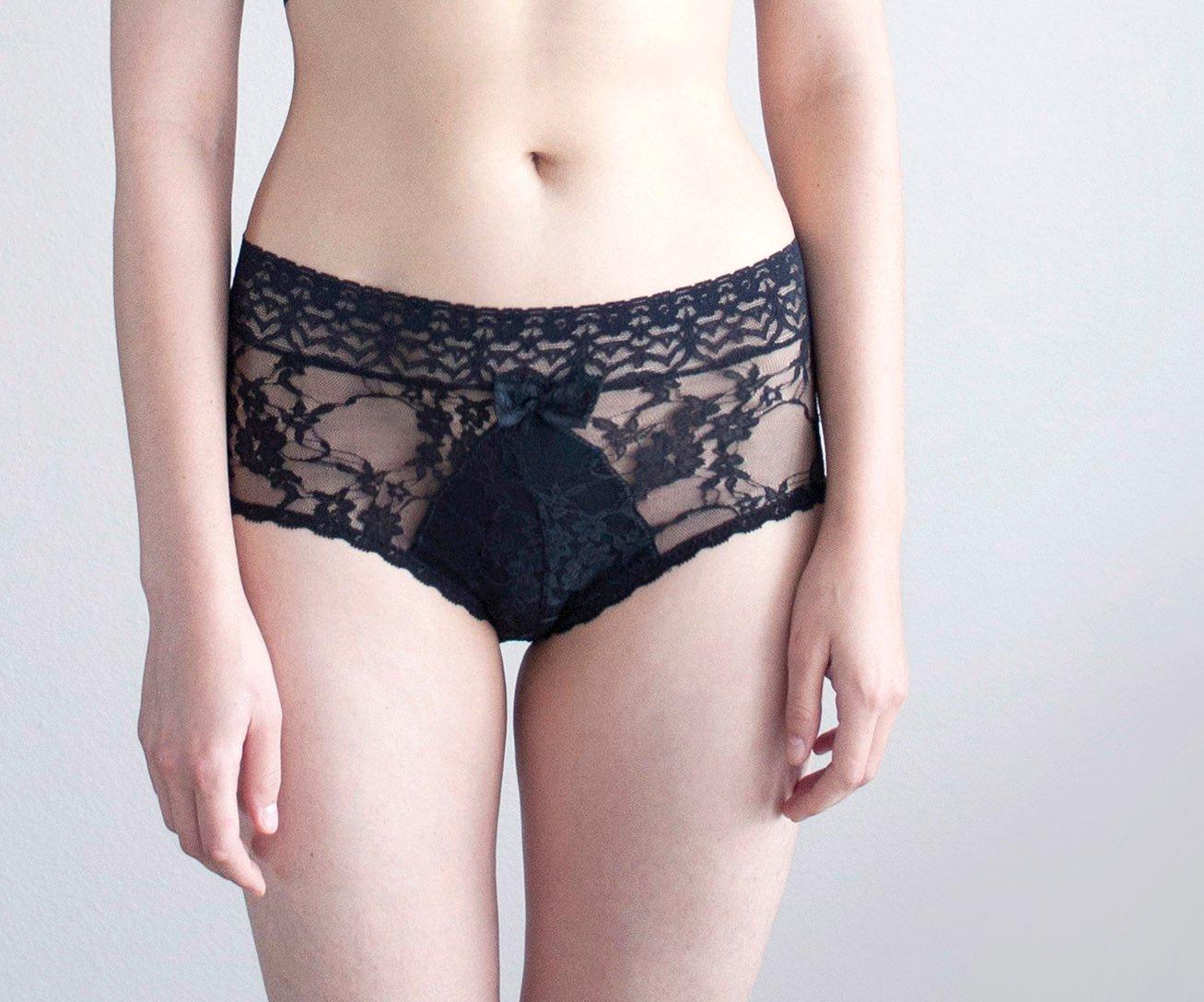 d79d06b35 Amazon.com  Black Lace Panties. Floral Lingerie