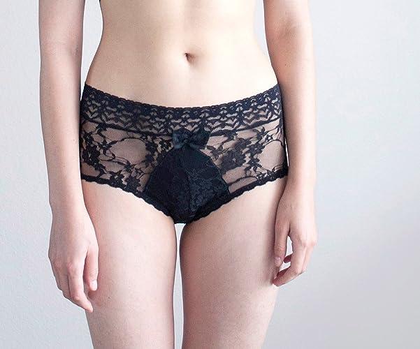 d2faab4da2670 Amazon.com: Black Lace Panties. Floral Lingerie, Sheer Panties. Handmade  Lingerie.: Handmade
