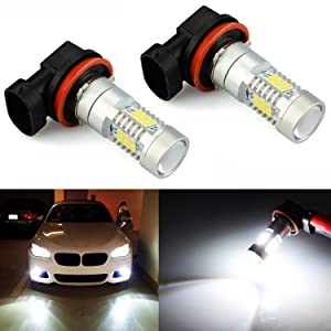 JDM ASTAR 2520 Lumens Extremely Bright PX Chips H11 LED Fog Light Bulbs with Projector, Xenon White