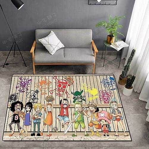 Anime Floor Mat Anti-Slip Area Rug Rectangle Carpet Doormat Welcome Rug One Piece Monkey D. Luffy Hat Pirate Outdoor Indoor Floor Mats Machine Washable Bathroom Mats,c,200300cm