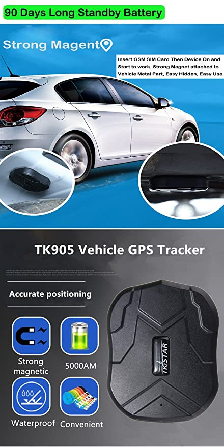 TKSTAR GPS Tracker with Strong Magnet for Car/Vehicle/Van Truck Fleet Management GPS Locator Realtime Accurate Location Device Waterproof 90 Days Long ...