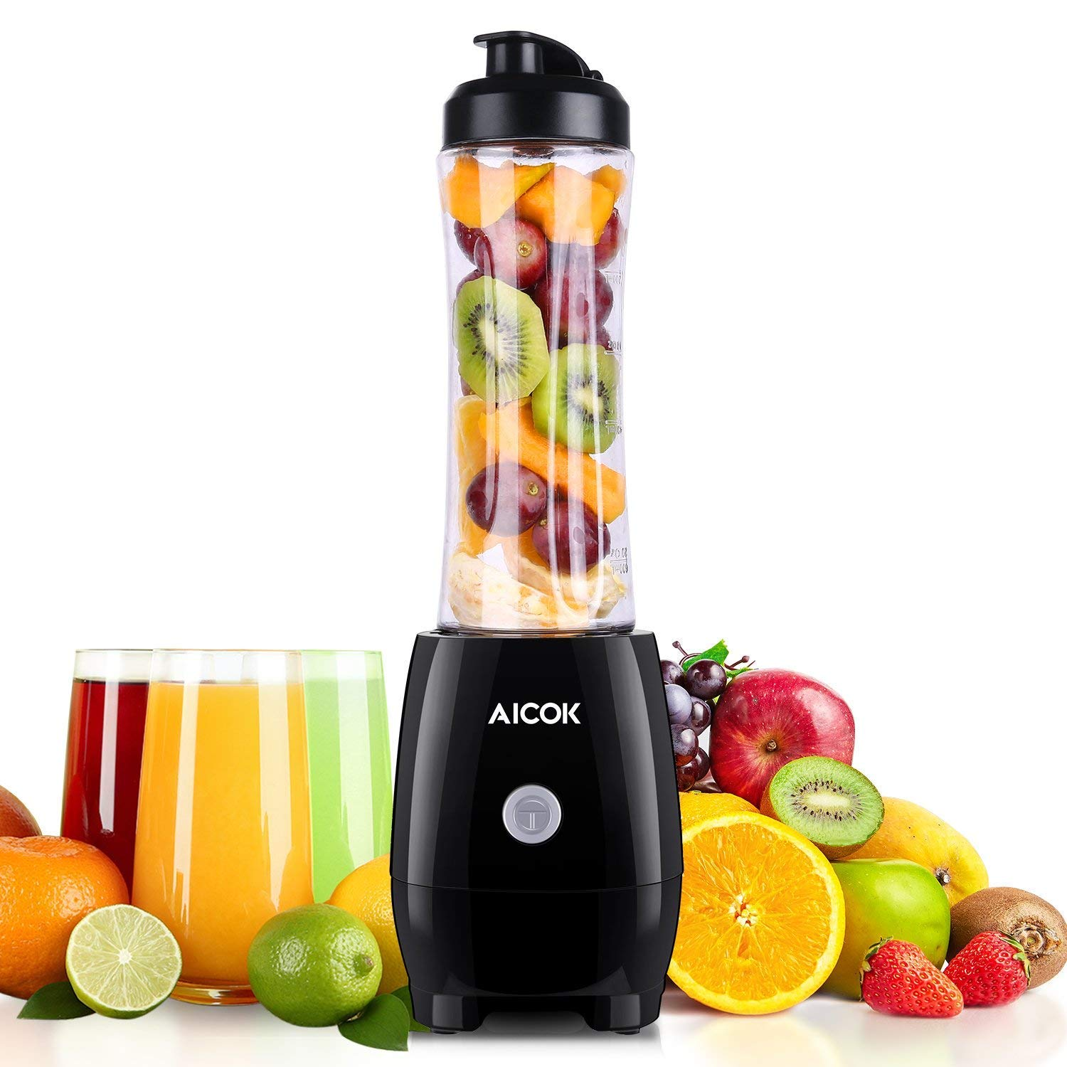 Smoothie Blender Aicok Personal Blenders with Travel Portable Bottle, Electric Mini Blender Stainless Steel 4-Blade for Juice, Shakes and Baby Food, 300W
