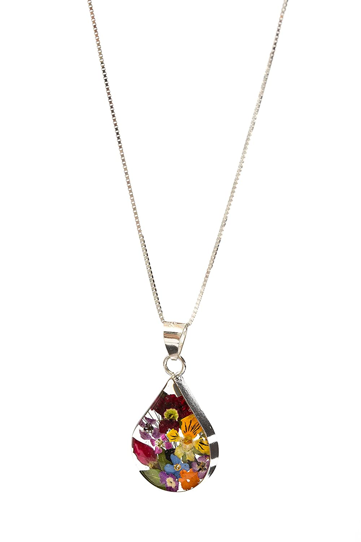 Minely Jewels Silber Halskette mit Anhänger aus echten Blütenblättern in Harz. Mittelgroße Tropfenform. Handgefertigt in 925 Silber mit 45cm echter Silberkette in stabiler Box Minely Boutique SFMTMX