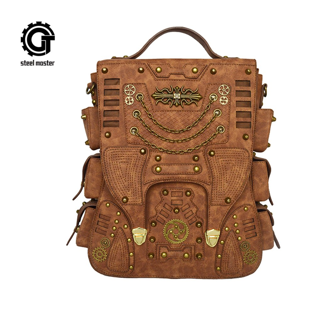Steampunk Backpack Women Men Leather Vintage Retro Rock Fashion Gothic Bags 2017 Steelsir GTLY-SJB1625