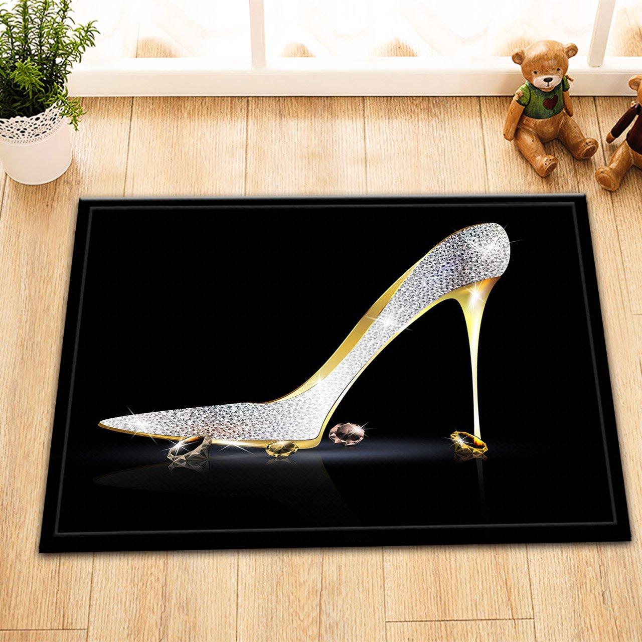 LB Diamond Silver Grey High Heels Bath Mat Modern Fashion Black Bathroom Mat for Girl Non Slip Soft Flannel 16X24 inch