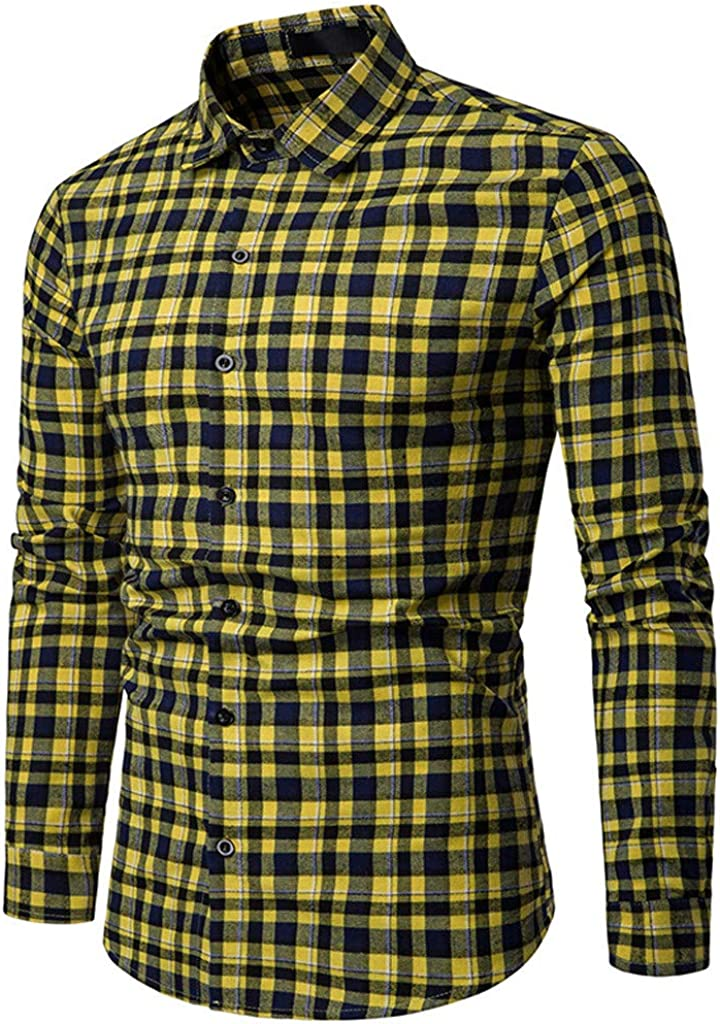 Poundy Mens Button Down Plaid Short Sleeve Work Casual Shirt Long Sleeve Shirts