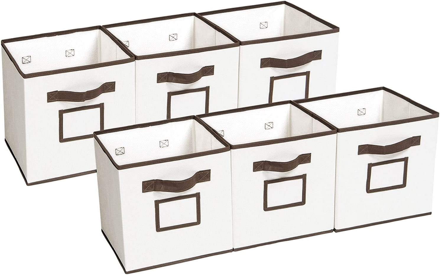 MaidMAX Foldable Storage Cubes with Label Holders Closet Nursery Organization Set of 6 Collapsible Storage Bins Cloth Organizers Drawers Containers with Dual Handles for Shelves
