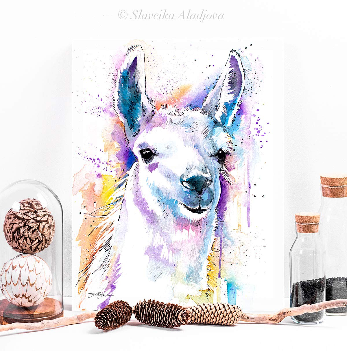 Amazon Com Llama Painting Print Art Trendy Watercolor Illustration Portrait Colorful Wall Decor Home Animal Handmade