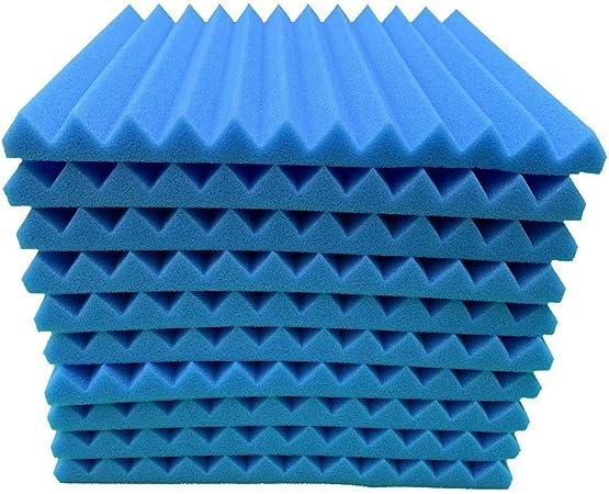 20PCS Aislante Acústico pared de Algodón Material de Esponja de Algodón que absorbe el Sonido KTV Estudio de Aislamiento de Algodón Silenciador Algodón material de Aislamiento Acústico (azul): Amazon.es: Hogar