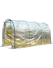 HOMCOM Invernadero Caseta Cultivo Plantas Jardin Terraza Túnel 350x200x200cm Acero PVC