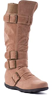 b996521418fec WW Footwear Womens Ladies Buckle Sweater Knit Flat Knee High Mid Calf Boots  Shoes