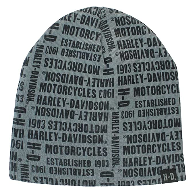 2dc16fa42cebdf Harley-Davidson Men's Repeated H-D Text Knitted Beanie Cap, Gray KN19180