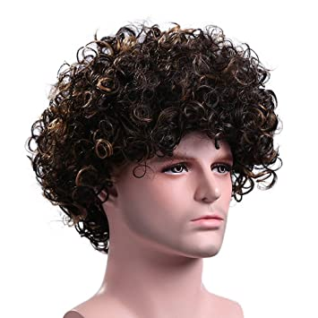 963e28d51 Menoqi Men's Curly Wigs California Heat Resistant Wigs Synthetic Hair Wigs  Natural Looking Wigs with Wig