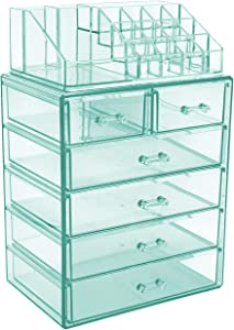 Sorbus Cosmetic Makeup and Jewelry Storage Case Display - Spacious Design - Great for Bathroom, Dresser, Vanity and Countertop (4 Large, 2 Small Drawers, Teal Thrill)