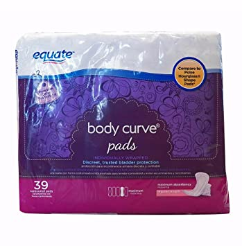 EQUATE BODY CURVE PADS MAXIMUM ABSORBENCY 39 COUNT