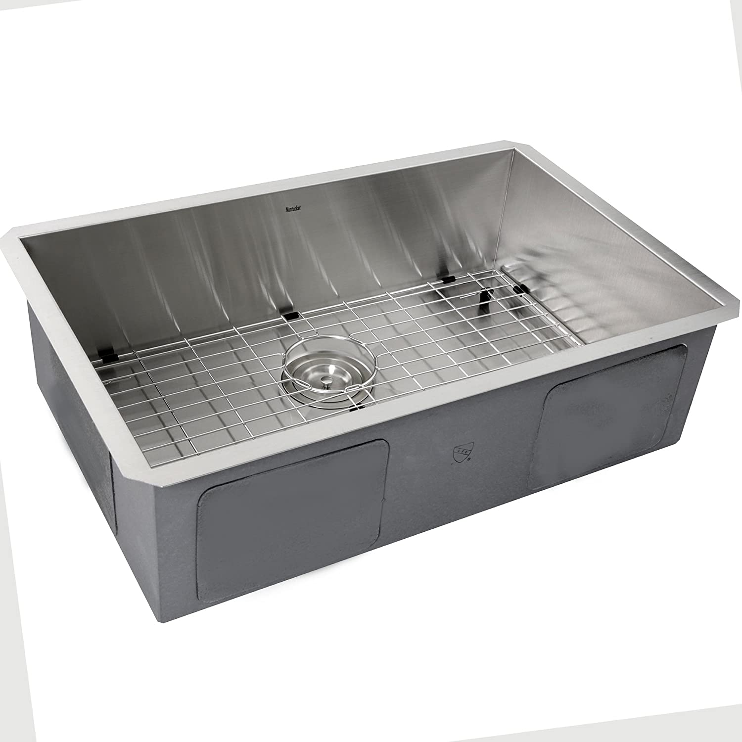 Nantucket Sinks ZR2818-16 28-Inch Pro Series Single Bowl Undermount Kitchen Sink, Stainless Steel
