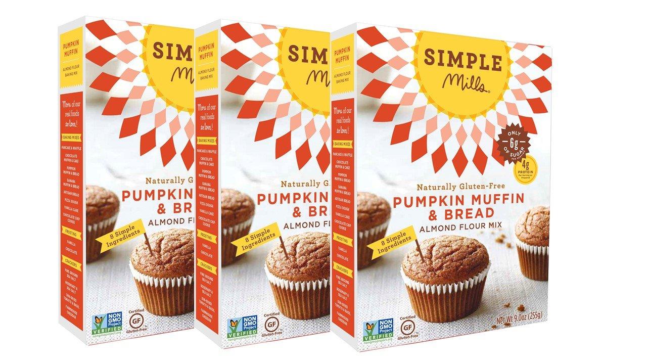 Simple Mills Naturally Gluten-Free Almond Flour Mix, Pumpkin Muffin & Bread, 3 Count
