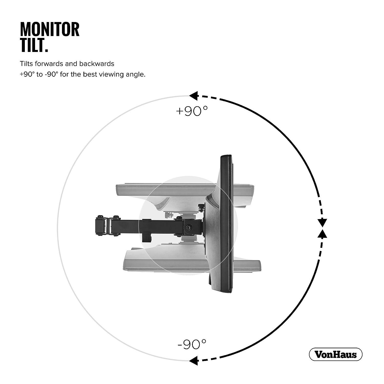 """braccio girevole a 180/° con circa 45/° di inclinazione rotazione a 360/° VESA max 100x100 VonHaus Supporto da scrivania con braccio doppio per monitor LCD LED da 13/"""" a 27/"""""""