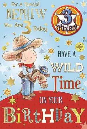 Geburtstagskarte Fur Den Neffen Zum 3 Geburtstag Mit Cowboy